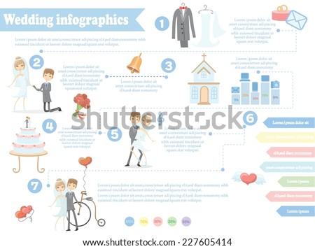 Wedding Infographics Including Template Design Elements For Invitation