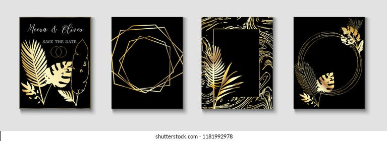 Wedding Invitatinon Gold Cool Cards Vector Set. Premium Rich Exotic Border, Pattern, Frame for Wedding Celebration. Monstera, Banana Leaves Exotic Background, Trendy Geo Design. Luxury Gold Shapes