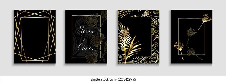 Wedding Invitatinon Gold Cool Cards Vector Set. Premium Rich Exotic Border, Pattern, Frame for Wedding Celebration. Monstera, Banana Leaves Exotic Background, Trendy Geo Design. Luxury Elegant Deco