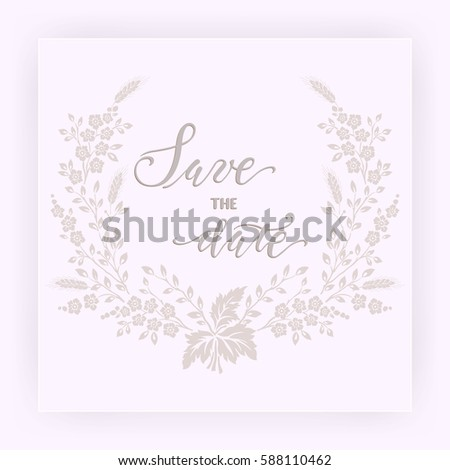 Wedding Invitation Announcement Card Floral Background Stock Vector