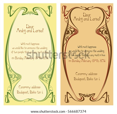 Wedding Invitation In Art Nouveau Vector Isolate Element