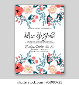 Wedding invitation autumn floral card template red anemone and rose
