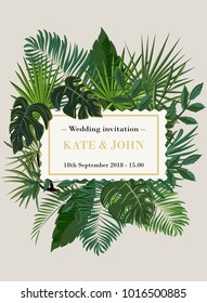 wedding invitation, background with tropical leaves, vector