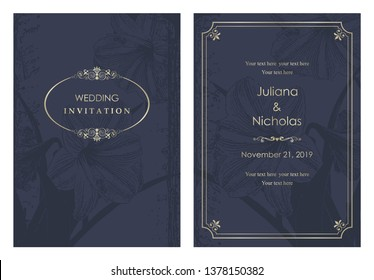 "Wedding  Invitation  with baroque pattern. Size: 5"" x 7"". Beautiful Victorian ornament. Blue and gold. Frame with floral elements.  The front and back side. Vector illustration."