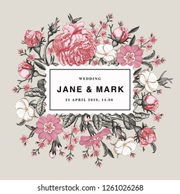 Wedding invitation. Beautiful blooming flowers. Vintage greeting card. Frame. Drawing, engraving. Rose, primroses, primula, croton agrostemma isolated floral. Wallpaper background. Vector Illustration