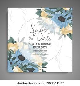 Wedding invitation. Beautiful blooming flowers. Vintage greeting card. Frame.
