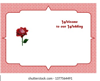 Wedding invitation with a beautiful rose, a frame and the inscription: Let's invite to our wedding. Background of the pattern. Vector illustration.
