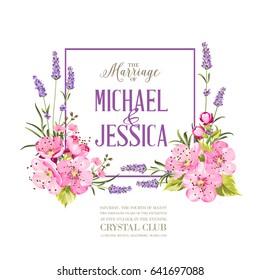 Wedding invitation with blossom cherry. Bridal shower invitation with white background. Vintage floral invitation for spring or summer bridal shower. Vector illustration.