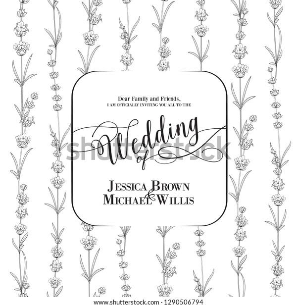 Wedding Invitation Blossom Lavender Bridal Shower Stock