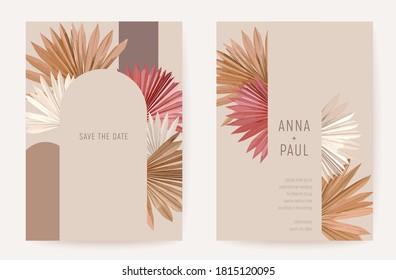 Wedding invitation boho tropical palm leaves card, frame set, dry leaves modern minimal terracotta template vector. Botanical Save the Date golden foliage poster, trendy design, luxury background