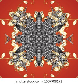 For wedding invitation, book cover or flyer. Gray, orange and white colors with colored ornament mandala, based on ancient greek and islamic ornaments.