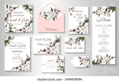 Wedding invitation with branch  flowers cherry blossom. Sakura flowers, watercolor, isolated on white.  Vector Watercolour.