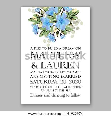 wedding invitation or bridal shower card floral blue jasmine sakura vector clip art bouquet marriage background