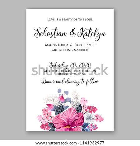 wedding invitation or bridal shower card floral magenta hibiscus jasmine sakura vector clip art bouquet marriage