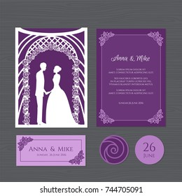 Wedding invitation with bride and groom of a wedding arch. Paper lace envelope template. Wedding invitation envelope mock-up for laser cutting. Vector illustration.