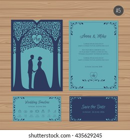 Wedding invitation with bride and groom, and tree. Paper lace envelope template. Wedding invitation envelope mock-up for laser cutting. Vector illustration.