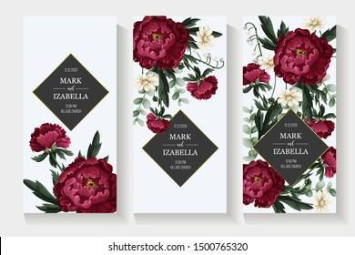 Wedding invitation with burgundy peonies. Vector.