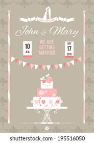 Wedding invitation with cake. Festive vector illustration