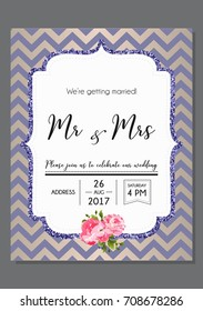 Wedding invitation calligraphy card, lettering vector design. Hand written wedding day romantic card with text Mr & Mrs.