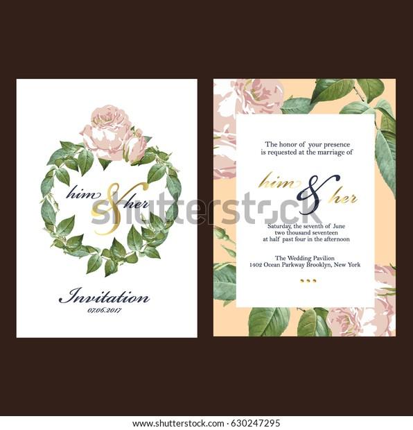 Wedding Invitation Card Stock Vector (Royalty Free) 630247295