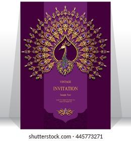 Wedding invitation or card with abstract background. Islam, Arabic, Indian, Dubai.