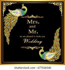 Wedding invitation or card with abstract background. Islam, Arabic, Indian, decoration with peacock.