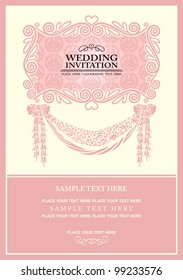 Wedding invitation card, abstract background, vintage frame and banner,  pink damask wallpaper, baroque style label, fashion pattern, graphic ornament for decoration and design.