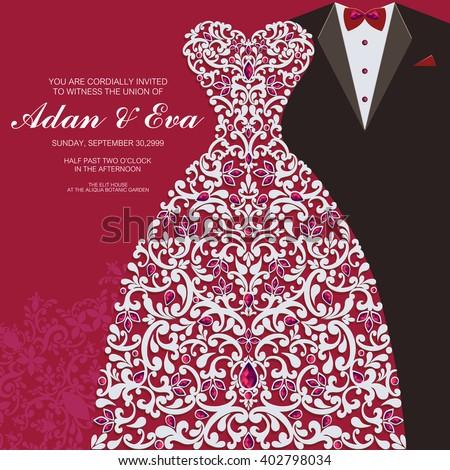 Wedding Invitation Card Abstract Background Islam Wektor