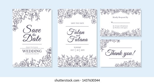 wedding invitation card abstract floral and flower outline doodle art style mockup template vector illustration