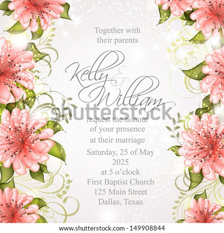 3ea3276cfb5 Wedding invitation or card with abstract floral background. Bridal Shower  invitation card