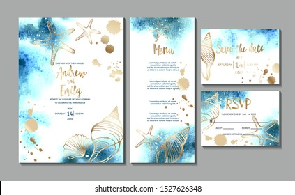 Wedding invitation card with abstract watercolor background and gold seashells. Menu card, Save the Date and RSVP card templates