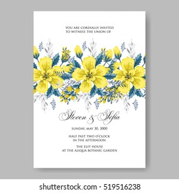 Wedding invitation card with abstract yellow floral background.  Romantic yellow peony bouquet bride wedding invitation template design.
