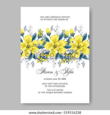 Wedding Invitation Card Abstract Yellow Floral Stock Vector Royalty
