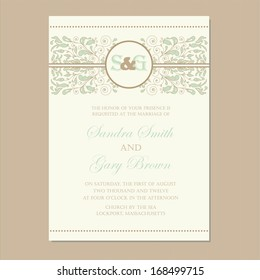 Wedding invitation card or announcement with beautiful floral ornament.