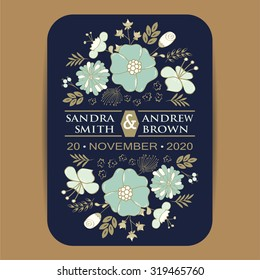 Wedding invitation card or announcement with beautiful flowers.
