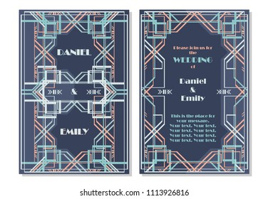 Great gatsby invitation stock vectors images vector art wedding invitation card art deco style gold color on cyan background with frame greeting card stopboris Image collections