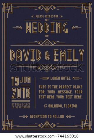 wedding invitation card art deco style のベクター画像素材