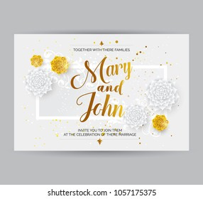 Weeding card images stock photos vectors shutterstock wedding invitation card background with decorative white and golden flowers ornament stopboris Gallery
