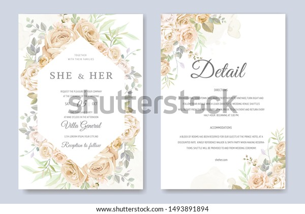 Wedding Invitation Card Beautiful Floral Leaves | The Arts ...