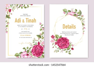 wedding invitation card with beautiful roses frame