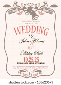 Wedding Invitation Card with Bells in Vector