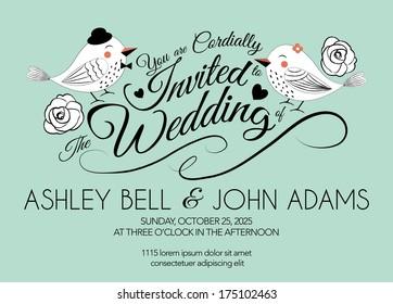 Wedding Invitation Card with Bird on Mint Green Background