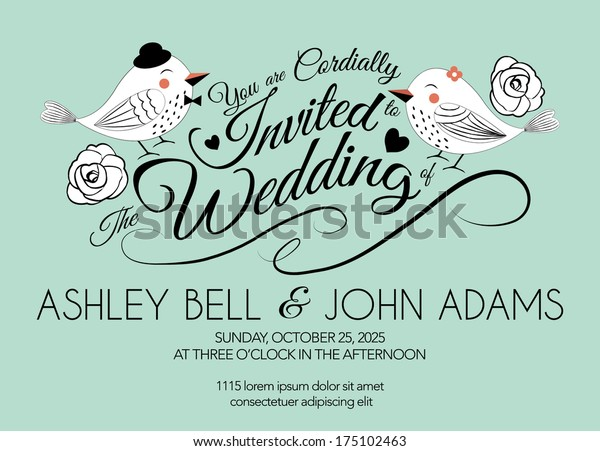 Wedding Invitation Card Bird On Mint Stock Vector Royalty