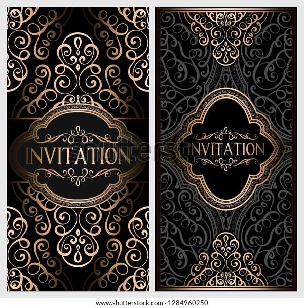 Wedding Invitation Card Black Gold Shiny Stock Image