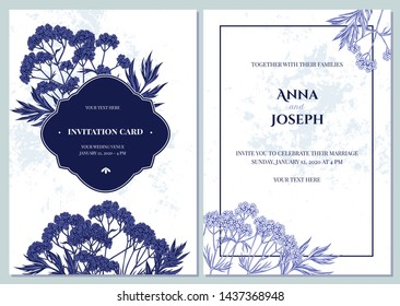 Wedding invitation card with blue and white valerian