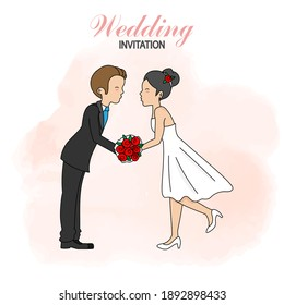 Wedding invitation card. Bride and groom kissing. Isolated vector
