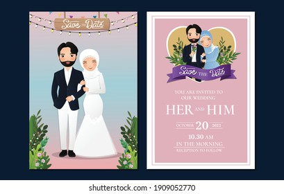 Wedding invitation card the bride and groom cute muslim couple cartoon  with beautiful flowers background