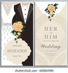 wedding invitation card, bride and groom dress concept. love and valentine day. vector illustration