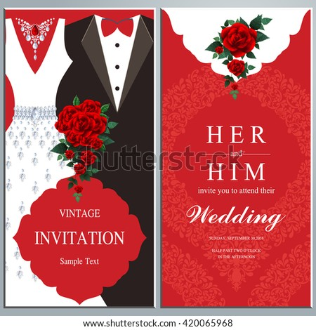 Wedding Invitation Card Bride Groom Dress Vector De Stock Libre De