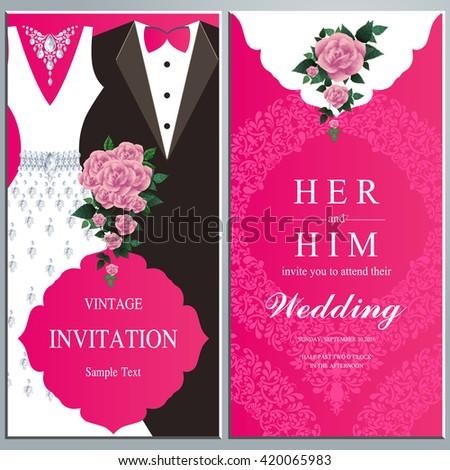 wedding invitation card bride groom dress stock vector royalty free